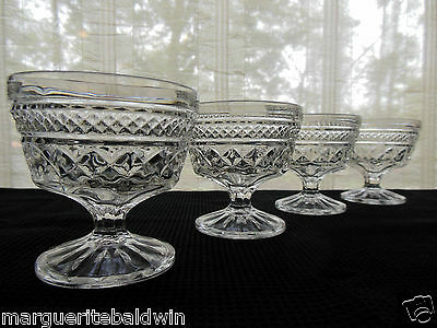 Anchor Hocking Glass 4 Clear Wexford Footed Sherbets Dessert Cups