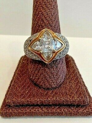 Cubic Zirconia Ring Sterling Silver 925 & Gold Overlay Vintage Estate Retro
