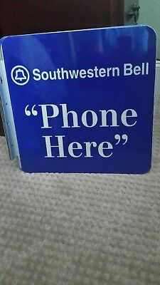 New Old stock ORG. Public Telephone Southwestern Bell Double Sided Flange Sign