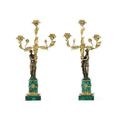 Fine Pair of 19th Century French Empire Style Bronze and Machalite Candelabra