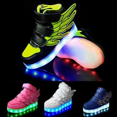Boys Girls LED Light up Lace Up Luminous Sneakers Children Kids Casual Shoes