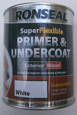Ronseal Supeflexible Primer And Undercoat Exterior Wood   White 750ml