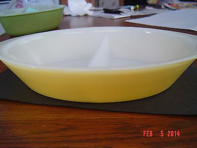 Vintage Yellow Divided Glasbake Casserole Dish J2352