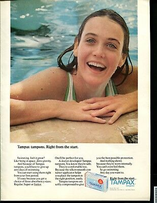 Vintage ad - 1971 Tampax Tampons Girl in pool