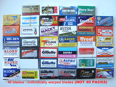 40 mixed Double Edge Safety DE Razor Blades sample pack Rasierklingen lot2