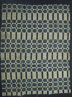 "Antique Coverlet Piece for Repurpose -1800's Wool/Hand Woven-15""x 20"""