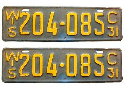 Wisconsin 1931 License Plate Pair, All Original, Model T, Model A, Antique