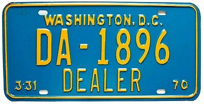 Washington DC 1970 Auto Dealer License Plate, DA-1896, Blue, Unused, Excellent