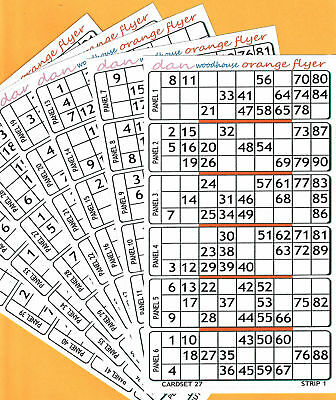 ORANGE 90 NUMBER HOUSIE BINGO FLYERS 6 TO VIEW tickets cards books jumbo sheets