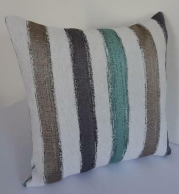 Scandi Design Turquoise Grey Taupe Brushstrokes Textured Cushion Cover 45cm