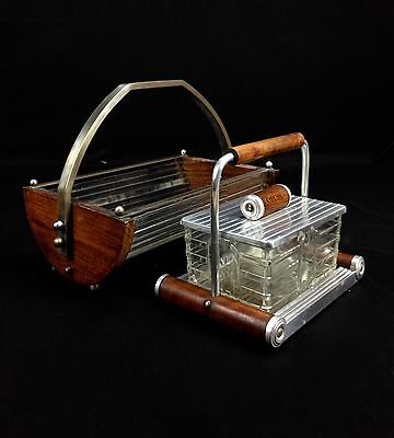Antique Kitchen Set - Bread Bin / Butter Dish - Wooden And Glass Art Deco French