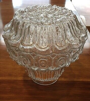 Rare Vintage Retro Art Deco Clear Pressed Glass Light / Lamp Shade Complete