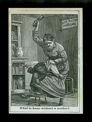 Mother Paddles Her Naughty Son-1880s Victorian Black Americana Trade Card