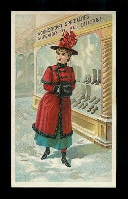 Well Dressed Lady Goes Shoe Shopping-1880s Victorian Trade Card