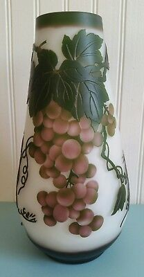 Emile Galle Style Art Nouveau Repro Cameo Glass Vase Grapes Grasshopper 10.5""
