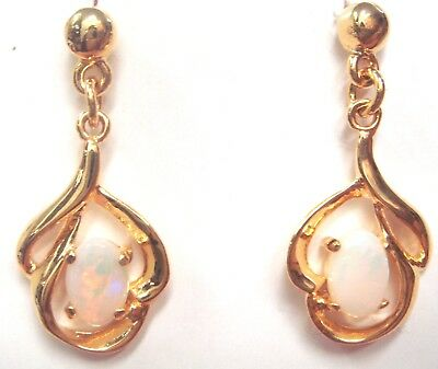 Christmas Ladies Gift Natural Solid White Opal Earring 18K Yellow Gold Plated