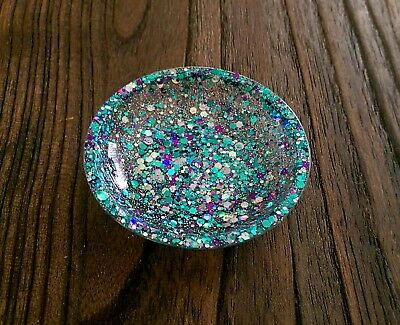 Ring Trinket Dish Resin Silver Teal and Aqua Sparkly Glitter