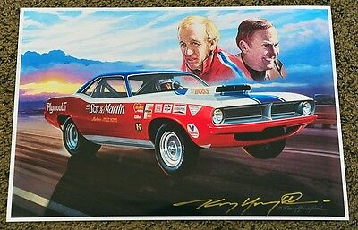 New Kenny Youngblood Signed Ronnie Sox And Buddy Martin Baracuda The Boss Print