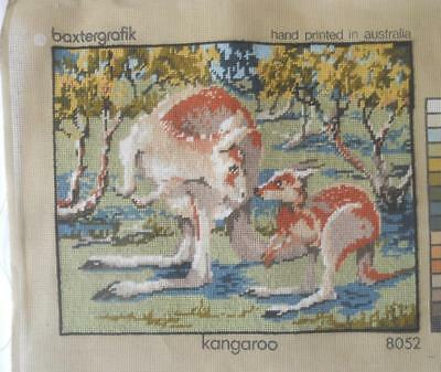 Gorgeous Vintage Completed Baxtergrafik Tapestry Kangaroo With Joey