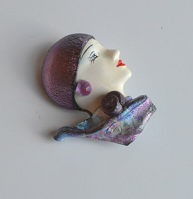 VINTAGE WHIMSICAL ARTISAN clay & plastic BROOCH PIN 3D Art Deco woman portrait
