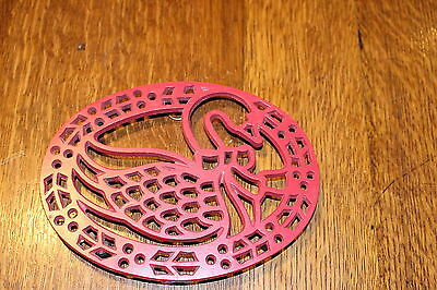 Vintage Stove Hot Plate Trivet Cast Meta Swanl on legs with rubber feet