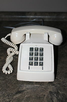 Vintage Bell Telephone Push Button Table Telephone Ivory Colour Works Great