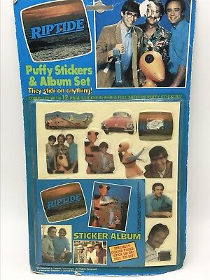 Riptide TV Show Puffy Stickers Album Vintage 1980s Television 1984