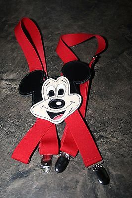 Disney Mickey Mouse Childs Suspenders Red with Mickey Mouse Head Taiwan