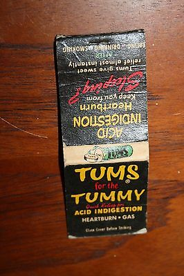Advertising Matchbook Cover Drugstore Tums for the Tummy no Matches