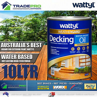 Wattyl Decking Oil PRO Water Based 10L Natural Timber Outdoor Wood Deck 10ltr