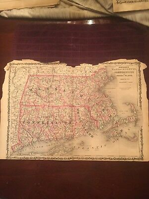 Johnson and Ward 1863 Hand Colored MASSACHUSETTS, CONNECTICUT & RHODE ISLAND Map