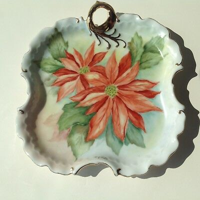 Vintage Hand-Painted Shaped Dish Poinsettias Gold Accents Signed P. Blake Euc