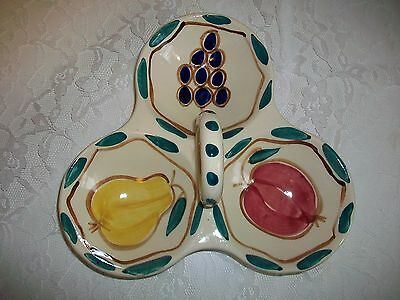 Purinton Pottery Hand Painted 3 Part Relish w/ Center Ceramic Handle
