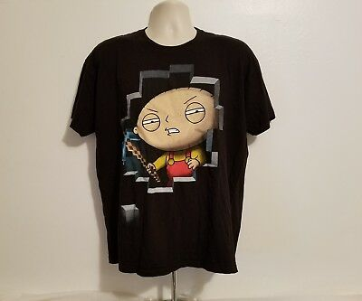 Family Guy Miner Stewie Griffin Adult Black XL T-Shirt