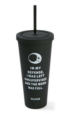 Killstar Goth Gothic Occult Full Moon Cold Brew Reusable Travel Cup Black
