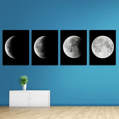 4PCS Modern Abstract The Moon Painting Art Print Canvas Home Wall Decor Unframed