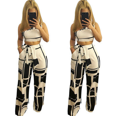 Women Oblique Shoulder Bodycon Club Party Casual Wide Leg Pants Jumpsuit 2pc