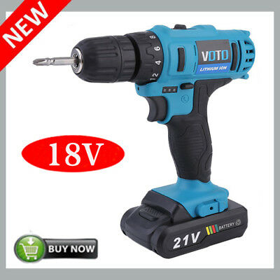 "NEW 18V 21V Cordless 1/4"" Hex, 3/8"" Driver, Drill 18 Volt Power Tool Lit-Ion VIP"