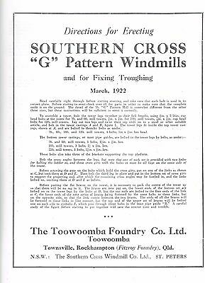 Southern Cross WINDMILL Erecting 1903, AGE, H, G , JA, R, Z, IZ, PRINTED Manuals