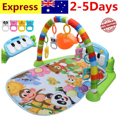 3 In 1 Baby Musical Lay Playmat  Activity Mats W/ Hanging Toy & Footboard Piano