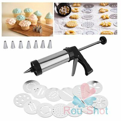 Biscuit Cookie Press And Icing 304 Steel Gun 8 Icing Nozzles 13 Pattern Discs