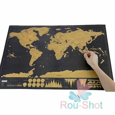 Deluxe Scratch Off Poster Personalized Travel Vacation Personal Gift World Map