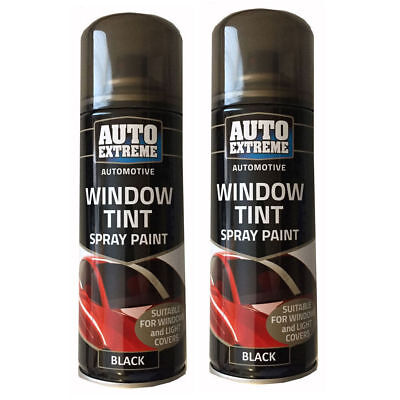 2 X 200ml Light Tint Spray Black Window Car Glass Paint Can Automotive Fast Dry