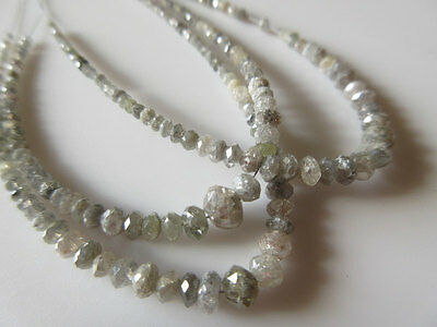 4.5 Inches Natural Light Gray Rough Diamond Beads Faceted Raw 4mm-2mm SKU-DF57