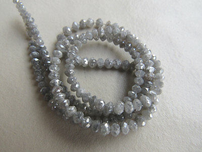 "Beautiful Rough Diamond Loose Beads Faceted White Raw 4mm-2mm 16"" RS5"