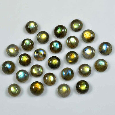 AAA Quality 25 Pc Natural Labradorite 7x7 mm Round Plain Cabochon Loose Gemstone