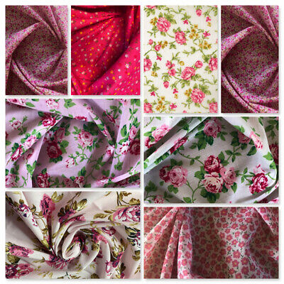 Pink Fabric Per Metre Fat Quarters Bundles Vintage Roses Flowers Sewing Bunting