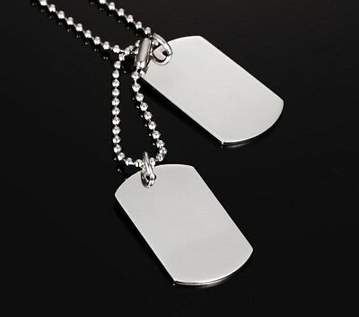 Military Army Style Silver Dog Tags 23 inch Ball Chain Tag Necklace Gift Bag UK