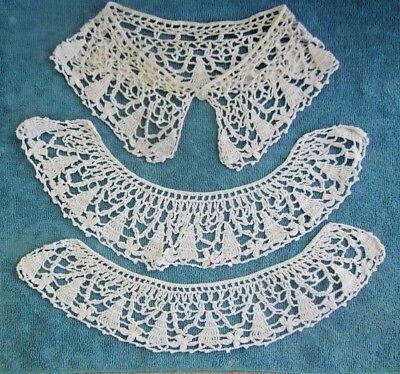 vintage white hand crochet COLLAR pieces