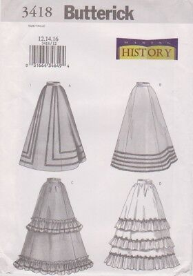 Butterick Pattern #3418 to make Victorian /Gay 90's Skirts Sz 12-14-16